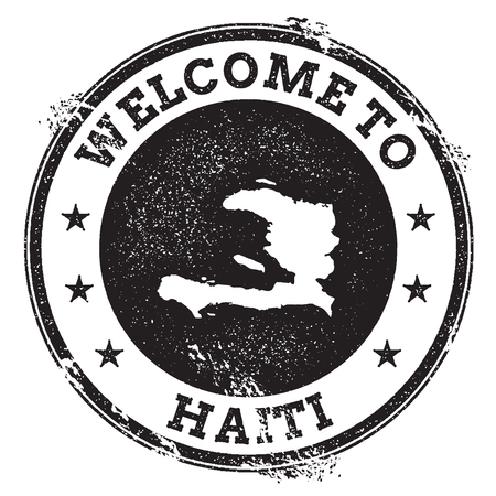 Vintage passport welcome stamp with Haiti map. Grunge rubber stamp with Welcome to Haiti text, vector illustration. Illustration