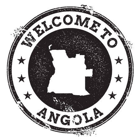Vintage passport welcome stamp with Angola map. Grunge rubber stamp with Welcome to Angola text, vector illustration.