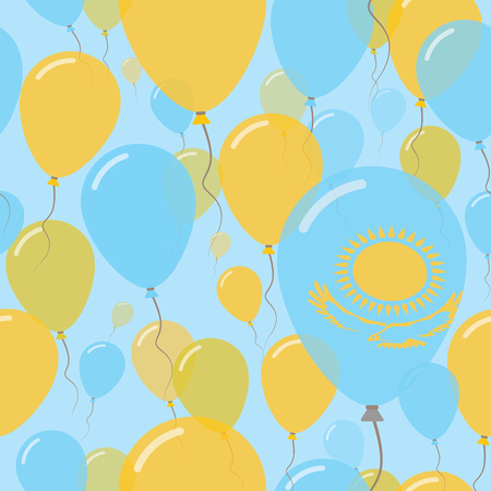 Kazakhstan National Day Flat Seamless Pattern. Flying Celebration Balloons in Colors of Kazakhstani Flag. Happy Independence Day Background with Flags and Balloons.