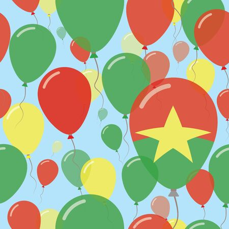 Burkina Faso National Day Flat Seamless Pattern. Flying Celebration Balloons in Colors of Burkinabe Flag. Happy Independence Day Background with Flags and Balloons.