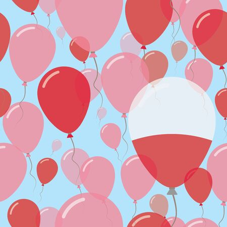 Poland National Day Flat Seamless Pattern. Flying Celebration Balloons in Colors of Polish Flag. Happy Independence Day Background with Flags and Balloons.