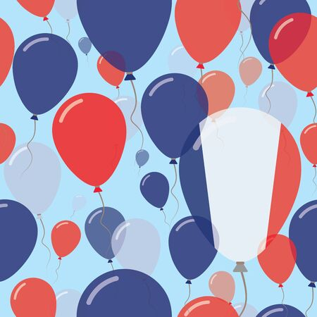 joyous: France National Day Flat Seamless Pattern. Flying Celebration Balloons in Colors of French Flag. Happy Independence Day Background with Flags and Balloons. Illustration