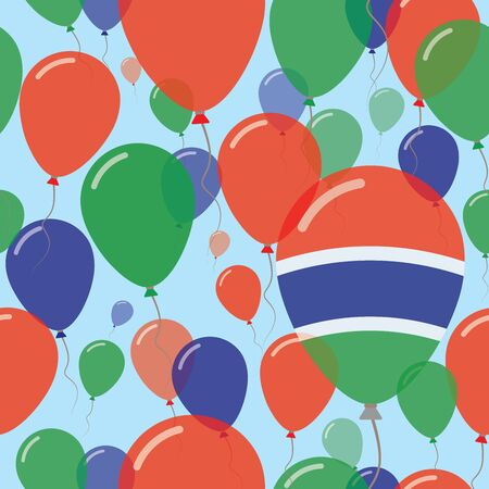 Gambia National Day Flat Seamless Pattern. Flying Celebration Balloons in Colors of Gambian Flag. Happy Independence Day Background with Flags and Balloons.