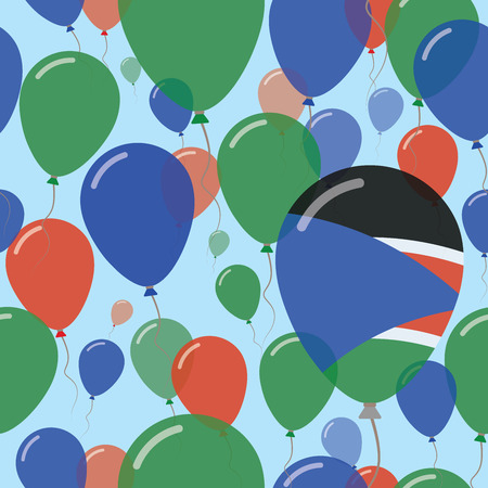 South Sudan National Day Flat Seamless Pattern. Flying Celebration Balloons in Colors of South Sudanese Flag. Happy Independence Day Background with Flags and Balloons. Illustration