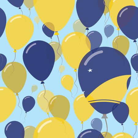 Tokelau National Day Flat Seamless Pattern. Flying Celebration Balloons in Colors of Tokelauan Flag. Happy Independence Day Background with Flags and Balloons. Illustration