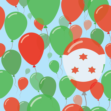 Burundi National Day Flat Seamless Pattern. Flying Celebration Balloons in Colors of Burundian Flag. Happy Independence Day Background with Flags and Balloons.