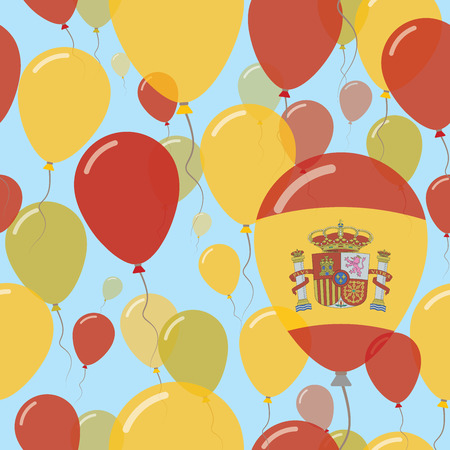 Spain National Day Flat Seamless Pattern. Flying Celebration Balloons in Colors of Spanish Flag. Happy Independence Day Background with Flags and Balloons.