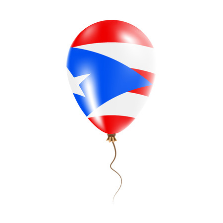 Puerto Rico balloon with flag. Bright Air Ballon in the Country National Colors. Country Flag Rubber Balloon. Vector Illustration. Illustration