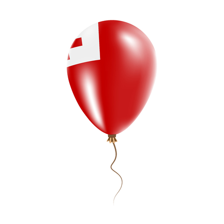Tonga balloon with flag. Bright Air Ballon in the Country National Colors. Country Flag Rubber Balloon. Vector Illustration. Illustration