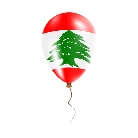 pied: Lebanon balloon with flag. Bright Air Ballon in the Country National Colors. Country Flag Rubber Balloon. Vector Illustration. Illustration