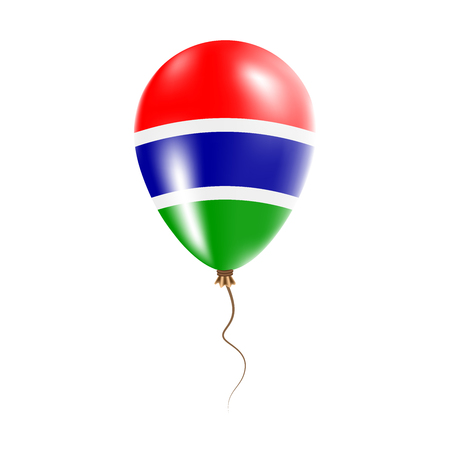 Gambia balloon with flag. Bright Air Ballon in the Country National Colors. Country Flag Rubber Balloon. Vector Illustration.