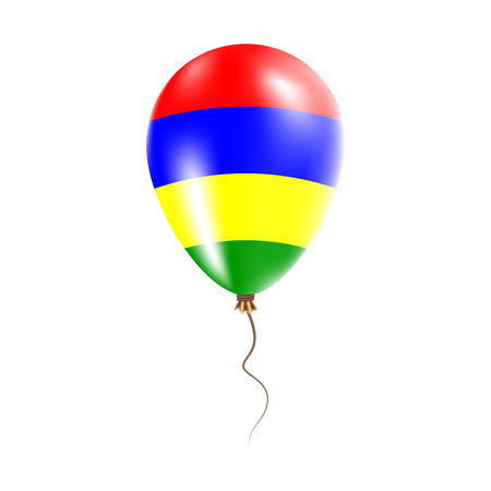 Mauritius balloon with flag. Bright Air Ballon in the Country National Colors. Country Flag Rubber Balloon. Vector Illustration.