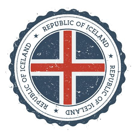 Grunge rubber stamp with Iceland flag. Vintage travel stamp with circular text, stars and national flag inside it. Vector illustration.