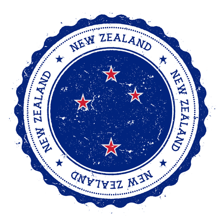 Grunge rubber stamp with New Zealand flag. Vintage travel stamp with circular text, stars and national flag inside it. Vector illustration.