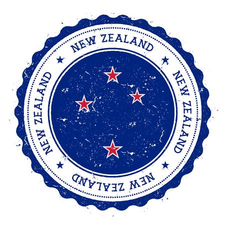 Timbro di gomma grunge con bandiera della Nuova Zelanda. Timbro di viaggio d'epoca con testo circolare, stelle e bandiera nazionale al suo interno. Illustrazione vettoriale Archivio Fotografico - 85034151