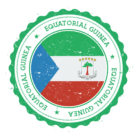 Grunge rubber stamp with Equatorial Guinea flag. Vintage travel stamp with circular text, stars and national flag inside it. Vector illustration.