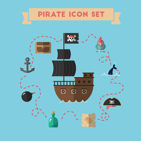 Flat treasure island icons collection vector illustration. Cartoon carousel of pirate icons in material flat style design. Illustration