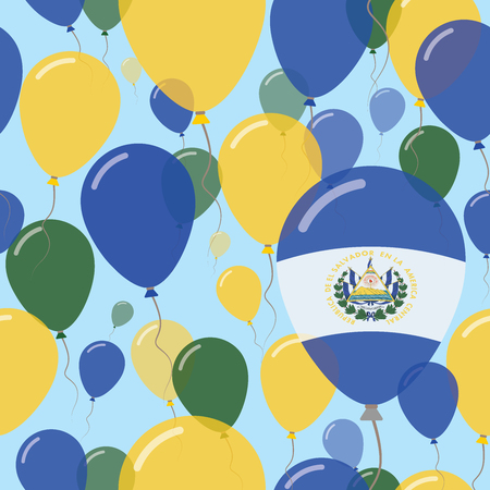 El Salvador National Day Flat Seamless Pattern. Flying Celebration Balloons in Colors of Salvadoran Flag. Happy Independence Day Background with Flags and Balloons. Illustration