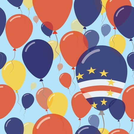 Cape Verde National Day Flat Seamless Pattern. Flying Celebration Balloons in Colors of Cape Verdian Flag. Happy Independence Day Background with Flags and Balloons.