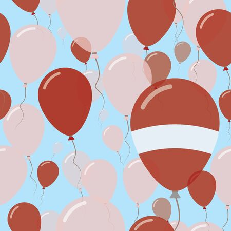Latvia National Day Flat Seamless Pattern. Flying Celebration Balloons in Colors of Latvian Flag. Happy Independence Day Background with Flags and Balloons.