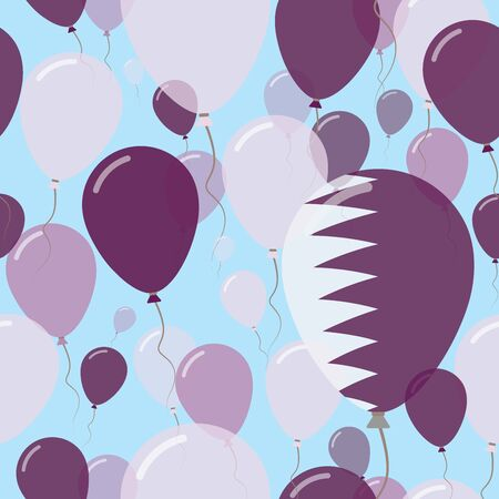 Qatar National Day Flat Seamless Pattern. Flying Celebration Balloons in Colors of Qatari Flag. Happy Independence Day Background with Flags and Balloons. Illustration
