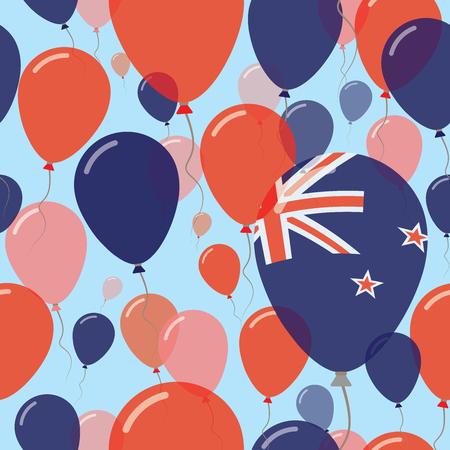Nieuw-Zeeland nationale dag plat naadloze patroon. Vliegende vieringsballons in kleuren van de nieuwe vlag van Zealander. Happy Independence Day achtergrond met vlaggen en ballonnen.