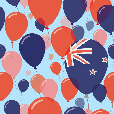 New Zealand National Day Flat Seamless Pattern. Flying Celebration Balloons in Colors of New Zealander Flag. Happy Independence Day Background with Flags and Balloons.