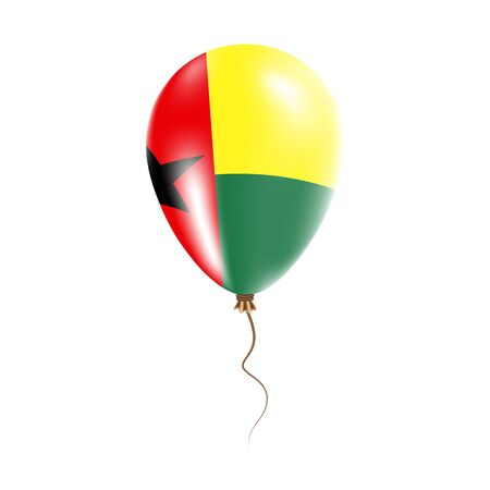 Guinea-Bissau balloon with flag. Bright Air Ballon in the Country National Colors. Country Flag Rubber Balloon. Vector Illustration.