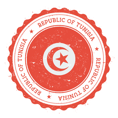 Grunge rubber stamp with Tunisia flag. Vintage travel stamp with circular text, stars and national flag inside it. Vector illustration.