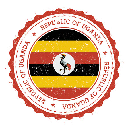 Grunge rubber stamp with Uganda flag. Vintage travel stamp with circular text, stars and national flag inside it. Vector illustration.