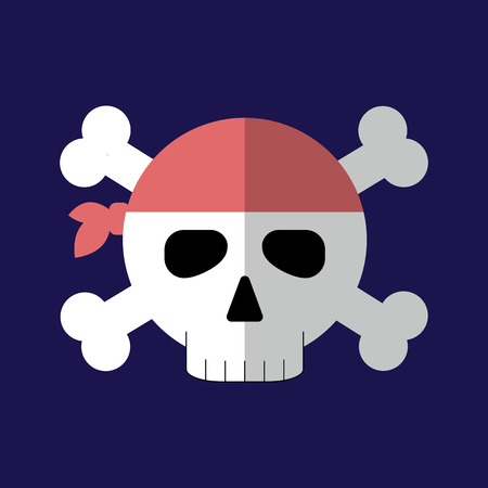 Jolly roger flat icon isolated vector illustration. Cartoon pirate symbol in material flat style design.