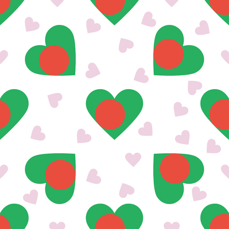 Bangladesh independence day seamless pattern. Patriotic background with country national flag in the shape of heart. Vector illustration. Illustration