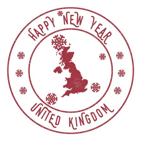 great: Retro Happy New Year United Kingdom Stamp. Stylised rubber stamp with county map and Happy New Year text, vector illustration. Illustration
