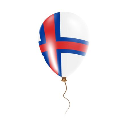 Faroe Islands balloon with flag. Bright Air Ballon in the Country National Colors. Country Flag Rubber Balloon. Vector Illustration.