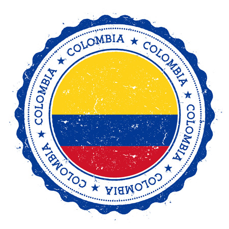 Grunge rubber stamp with Colombia flag. Vintage travel stamp with circular text, stars and national flag inside it. Vector illustration.