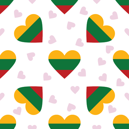 Lithuania independence day seamless pattern. Patriotic background with country national flag in the shape of heart. Vector illustration. Illustration