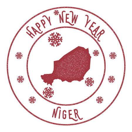 Retro Happy New Year Niger Stamp. Stylised rubber stamp with county map and Happy New Year text, vector illustration. Illustration