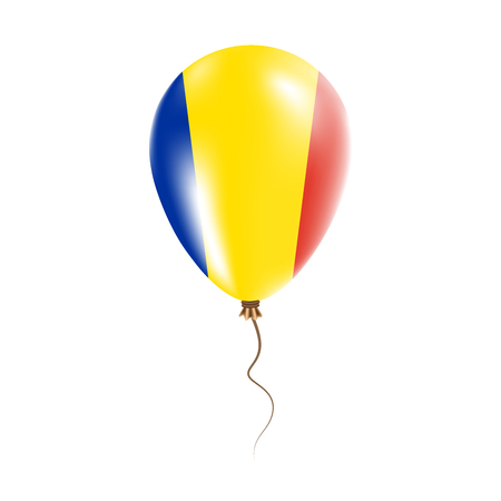 Romania balloon with flag. Bright Air Ballon in the Country National Colors. Country Flag Rubber Balloon. Vector Illustration.