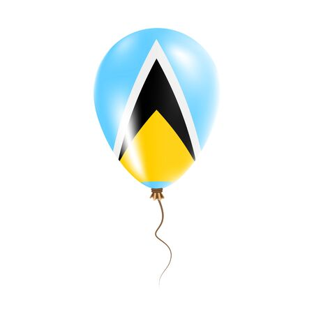 Saint Lucia balloon with flag. Bright Air Ballon in the Country National Colors. Country Flag Rubber Balloon. Vector Illustration. Illustration