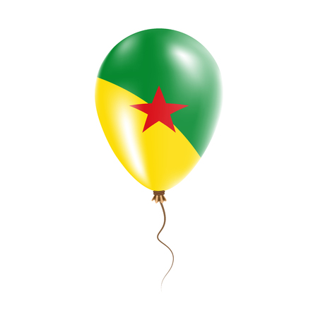 French Guiana balloon with flag. Bright Air Ballon in the Country National Colors. Country Flag Rubber Balloon. Vector Illustration.