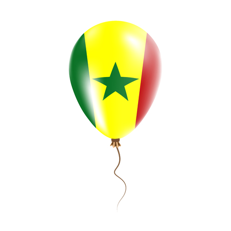 Senegal balloon with flag. Bright Air Ballon in the Country National Colors. Country Flag Rubber Balloon. Vector Illustration.