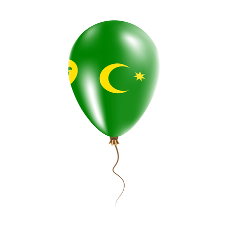 Cocos (Keeling) Islands balloon with flag. Bright air balloon in the country national colors. Country flag rubber balloon.
