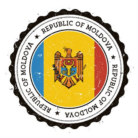 Vintage travel stamp with circular text, stars and national flag of Moldova inside.