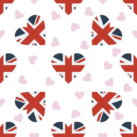 great: United Kingdom independence day seamless pattern. Patriotic background with country national flag in the shape of heart. Vector illustration.