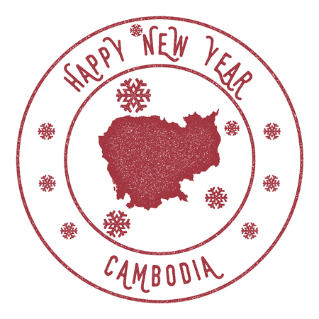 Retro Happy New Year Cambodia Stamp. Stylised rubber stamp with county map and Happy New Year text, vector illustration.