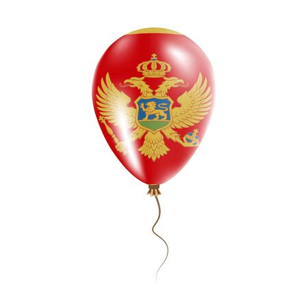 Montenegro balloon with flag. Bright Air Ballon in the Country National Colors. Country Flag Rubber Balloon. Vector Illustration. Illustration
