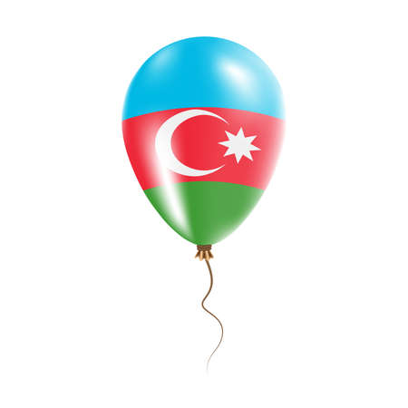 Azerbaijan balloon with flag. Bright Air Ballon in the Country National Colors. Country Flag Rubber Balloon. Vector Illustration. Illustration