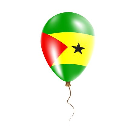 Sao Tome and Principe balloon with flag. Bright Air Ballon in the Country National Colors. Country Flag Rubber Balloon. Vector Illustration.