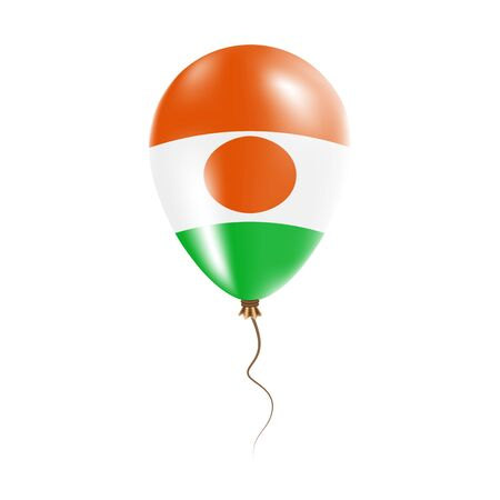 Niger balloon with flag. Bright Air Ballon in the Country National Colors. Country Flag Rubber Balloon. Vector Illustration.
