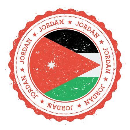 Grunge rubber stamp with Jordan flag. Vintage travel stamp with circular text, stars and national flag inside it Vector illustration.
